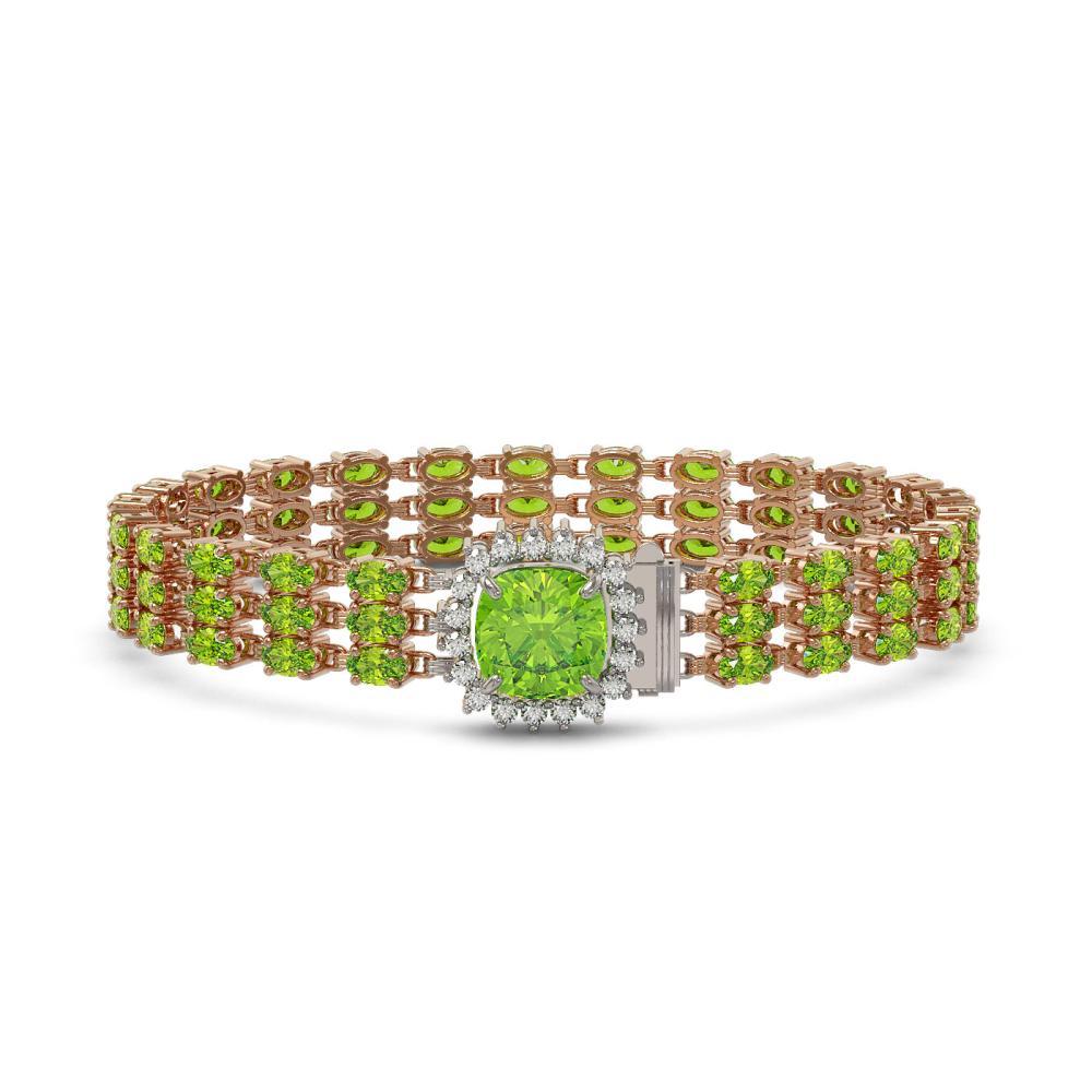 29.26 ctw Peridot & Diamond Bracelet 14K Rose Gold - REF-282K5W - SKU:45906