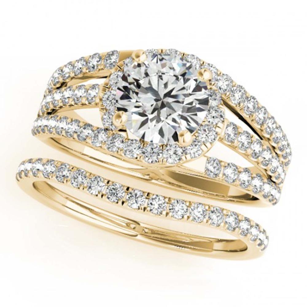 1.15 ctw VS/SI Diamond 2pc Wedding Set 14K Yellow Gold - REF-114V5Y - SKU:32008