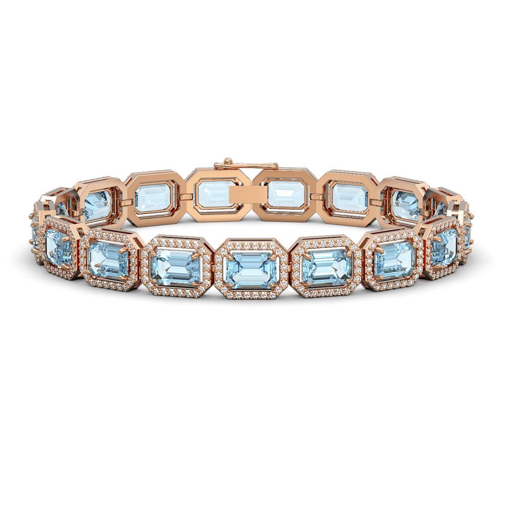 24.51 ctw Aquamarine & Diamond Halo Bracelet 10K Rose Gold - REF-401F3N - SKU:41403