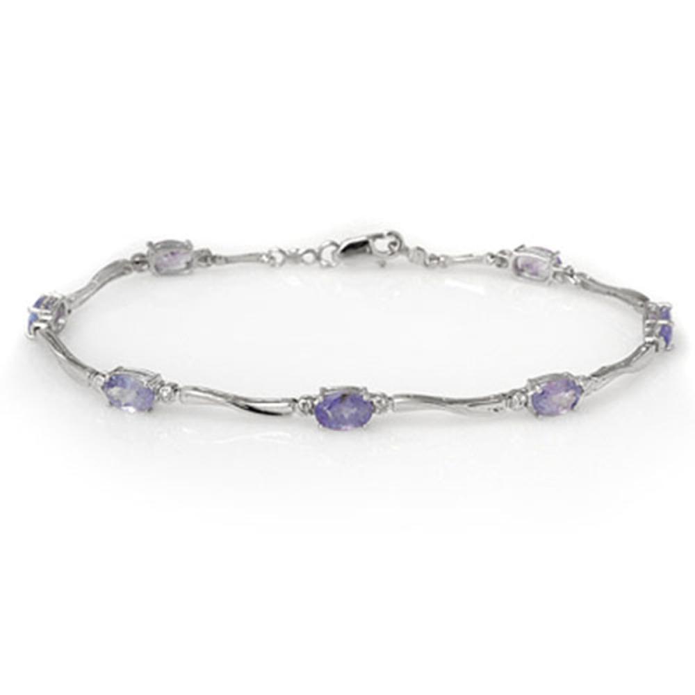 4.02 ctw Tanzanite & Diamond Bracelet 10K White Gold - REF-60F2N - SKU:10942