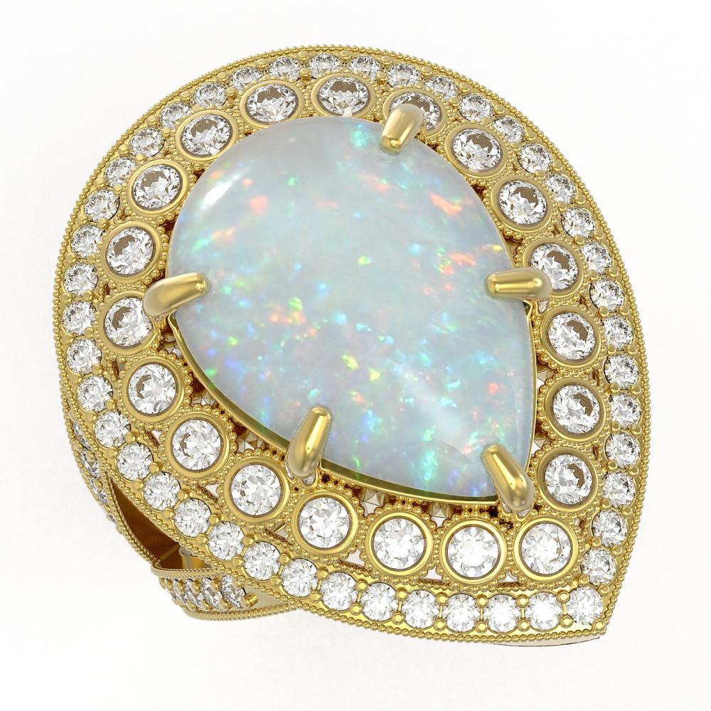 11.19 ctw Opal & Diamond Ring 14K Yellow Gold - REF-333W6H - SKU:43297