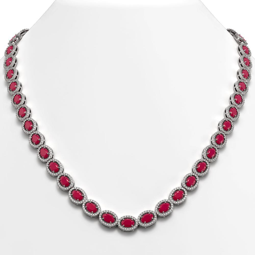 34.11 ctw Ruby & Diamond Halo Necklace 10K White Gold - REF-672A7V - SKU:40403