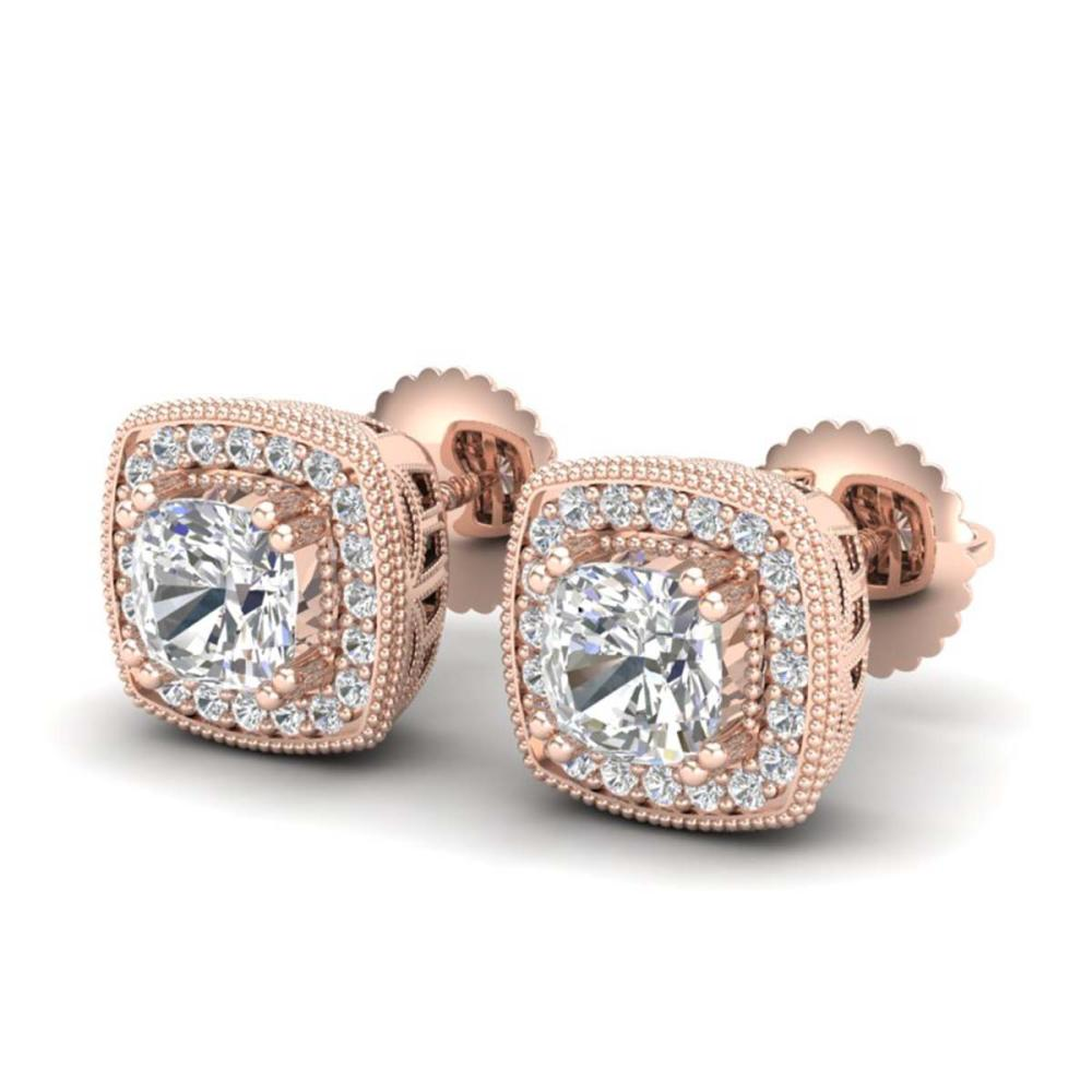 1.25 ctw VS/SI Cushion Diamond Art Deco Stud Earrings 18K Rose Gold - REF-178M2F - SKU:37035