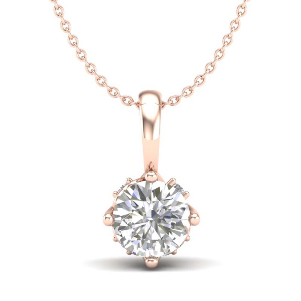 0.62 ctw VS/SI Diamond Solitaire Art Deco Stud Necklace 18K Rose Gold - REF-101X8R - SKU:37023