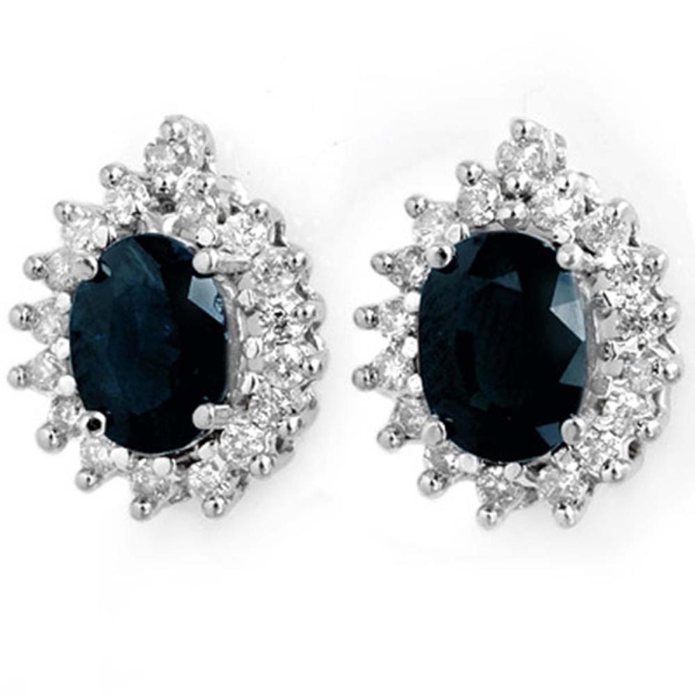 3.87 ctw Blue Sapphire & Diamond Earrings 14K White Gold - REF-89M3F - SKU:14298