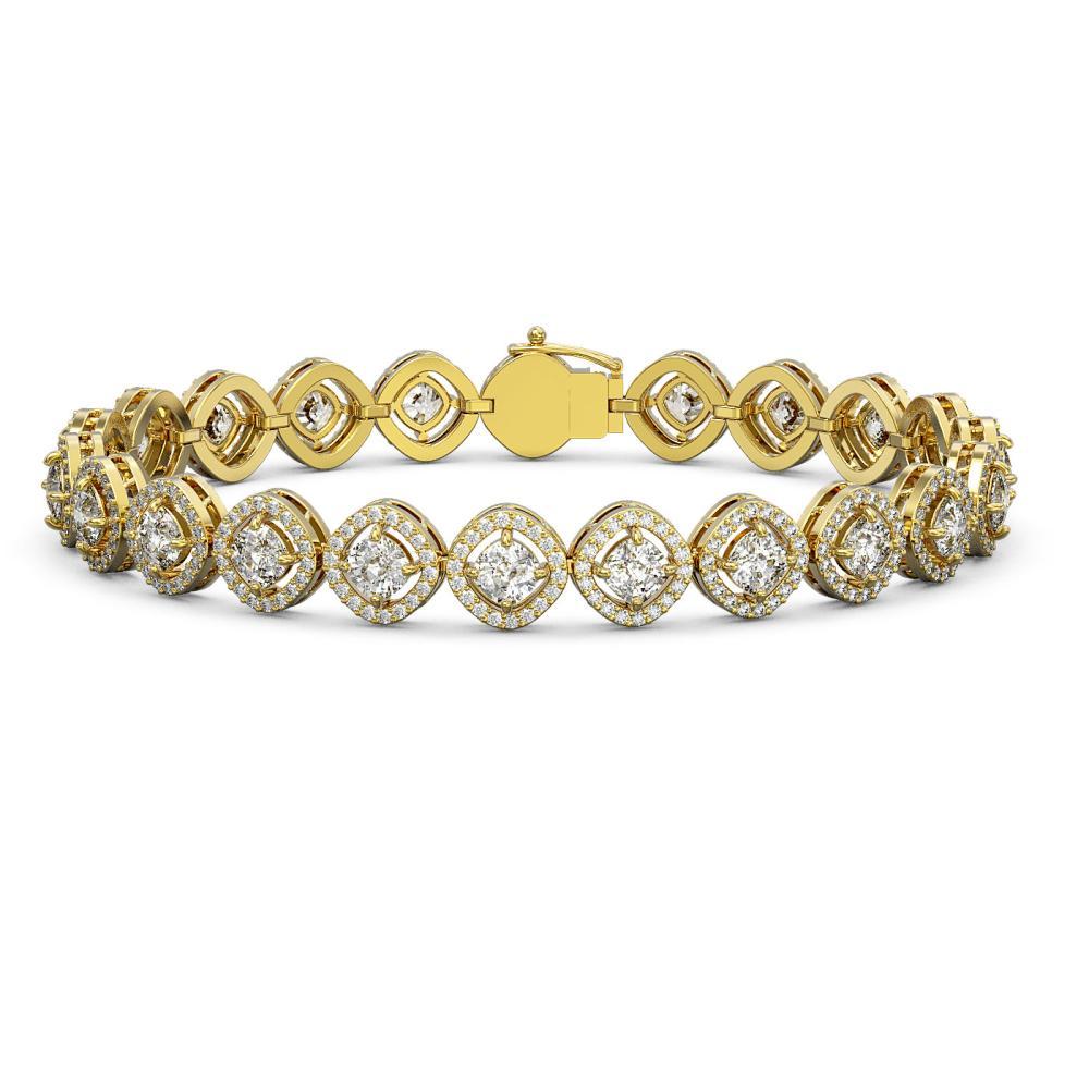 9.94 ctw Cushion Diamond Bracelet 18K Yellow Gold - REF-839M9F - SKU:43105