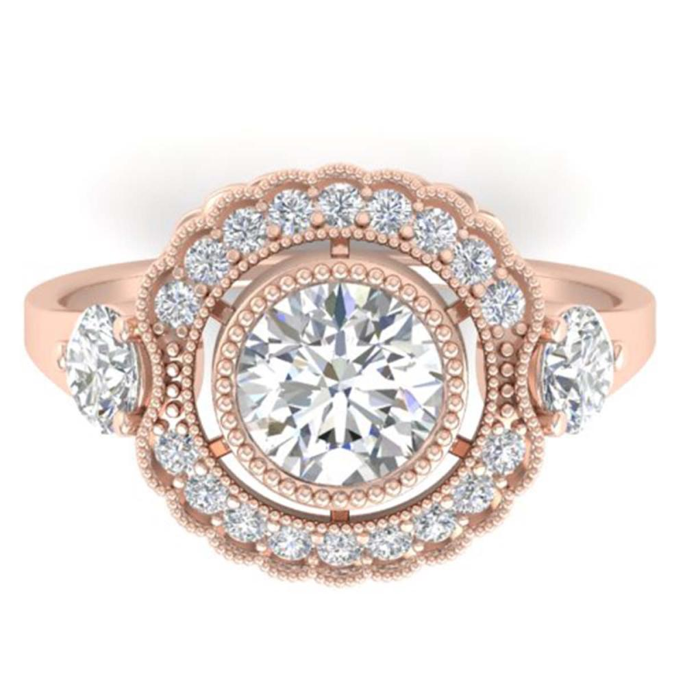1.90 ctw VS/SI Diamond Art Deco 3 Stone Ring 14K Rose Gold - REF-411Y5X - SKU:30547