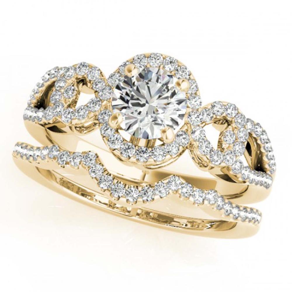 1.32 ctw VS/SI Diamond 2pc Wedding Set Halo 14K Yellow Gold - REF-161M6F - SKU:31081