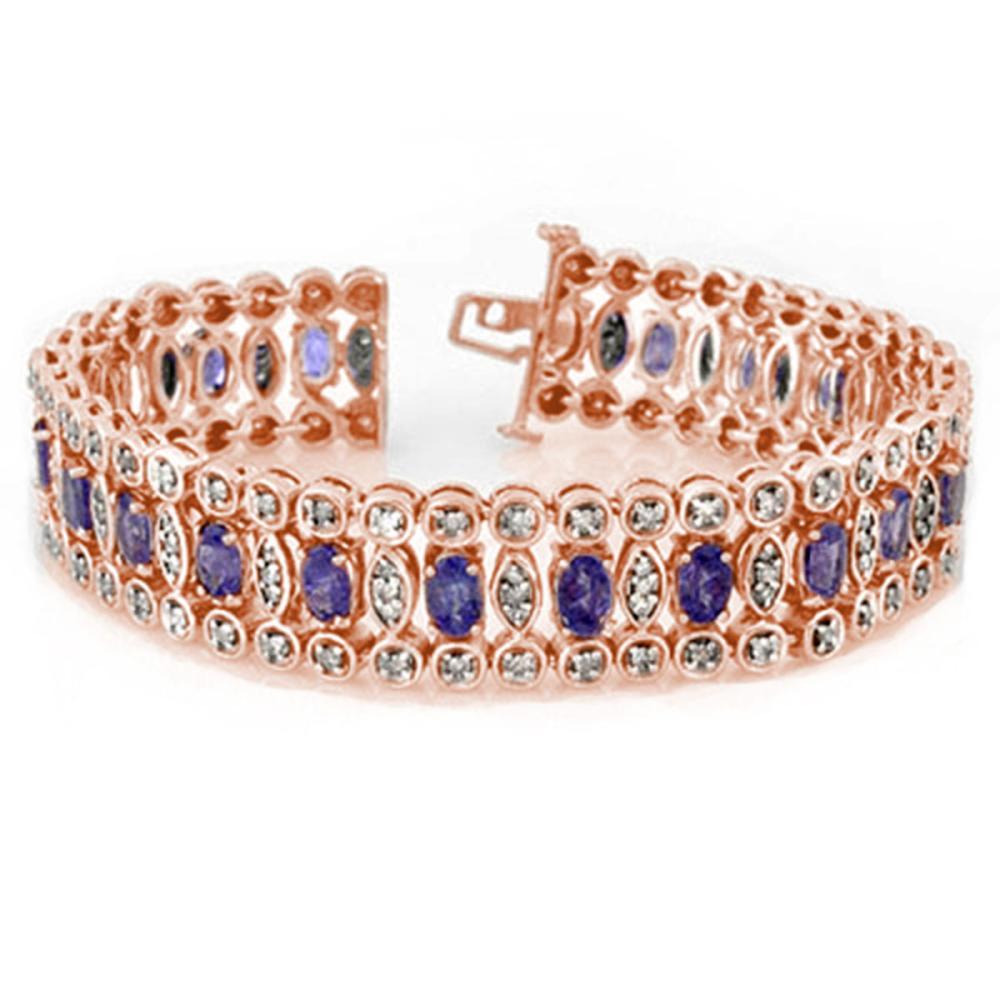 17.50 ctw Tanzanite & Diamond Bracelet 14K Rose Gold - REF-445X3R - SKU:11196