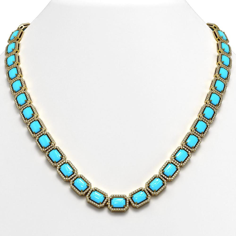 52.89 ctw Turquoise & Diamond Halo Necklace 10K Yellow Gold - REF-670M9F - SKU:46059