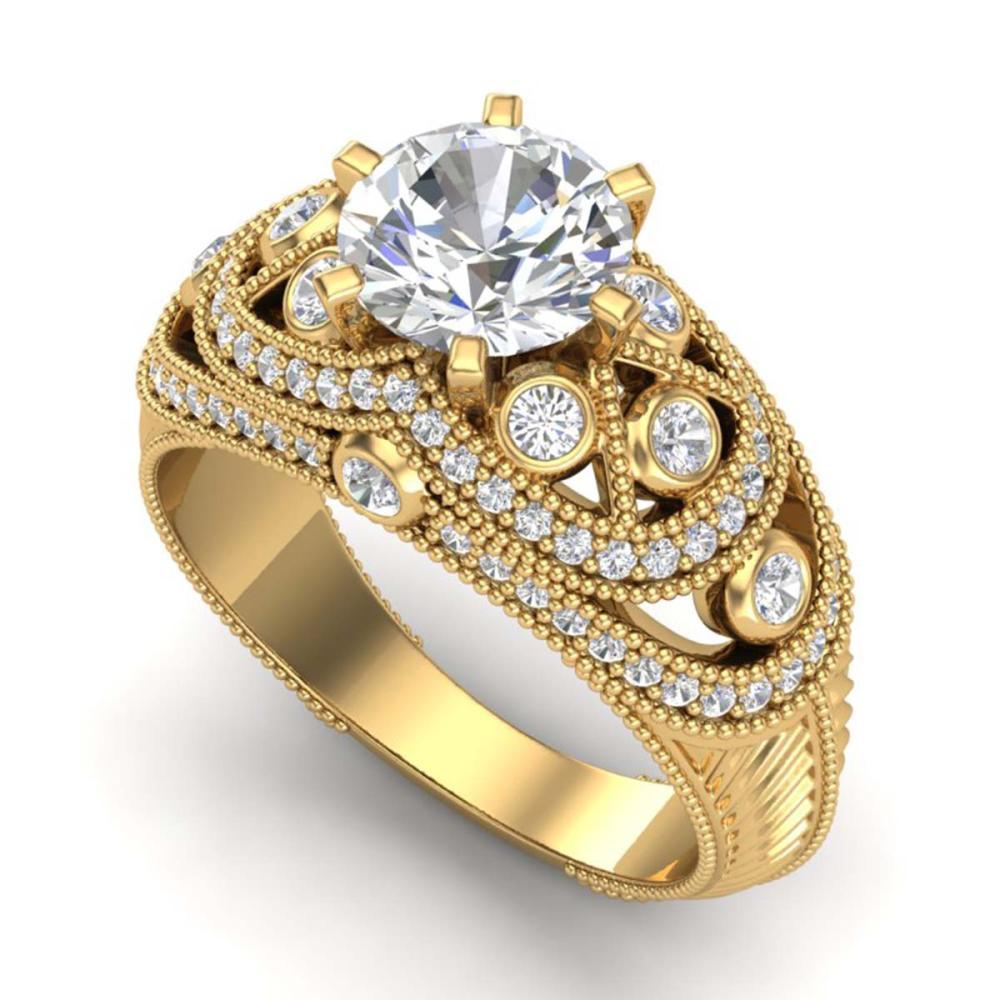 2 ctw VS/SI Diamond Solitaire Art Deco Ring 18K Yellow Gold - REF-581Y8X - SKU:37114