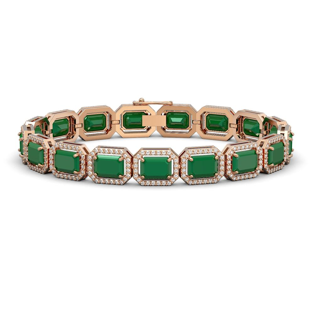 26.21 ctw Emerald & Diamond Halo Bracelet 10K Rose Gold - REF-368X7R - SKU:41379