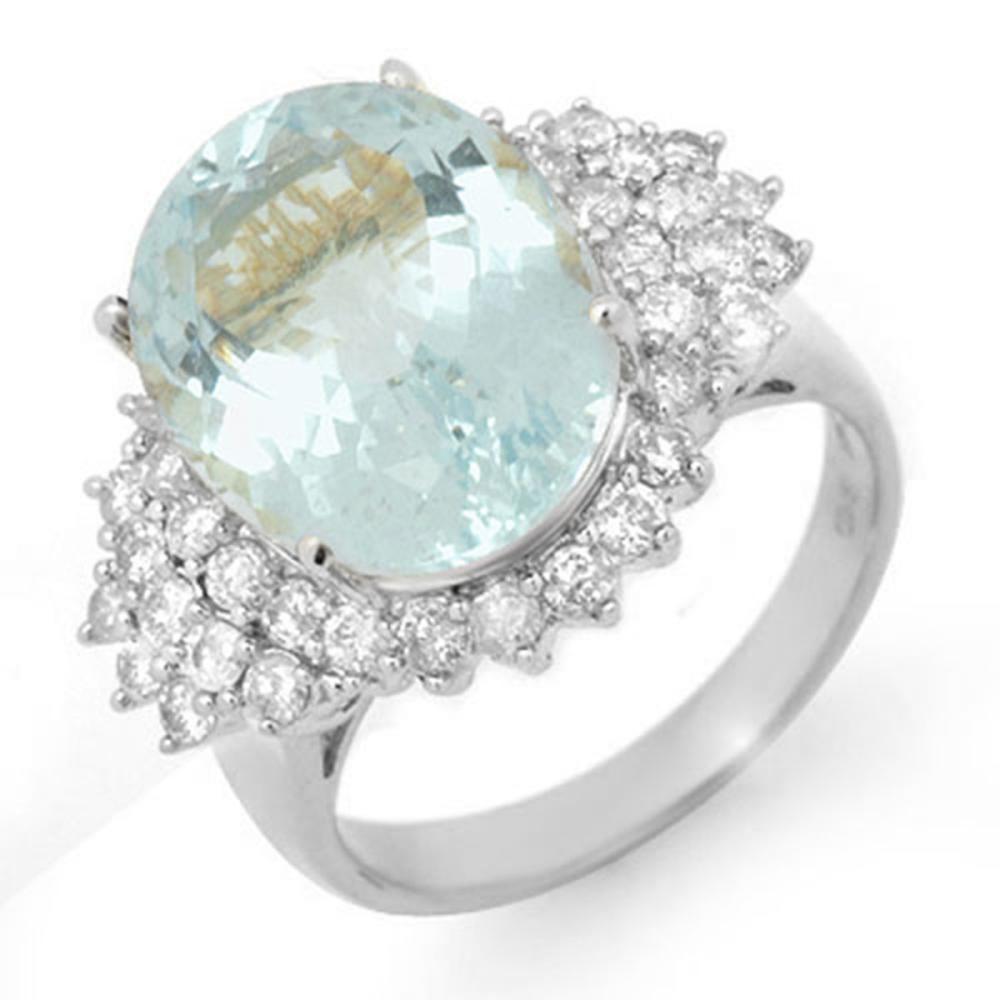 9.25 ctw Aquamarine & Diamond Ring 18K White Gold - REF-209A5V - SKU:14515