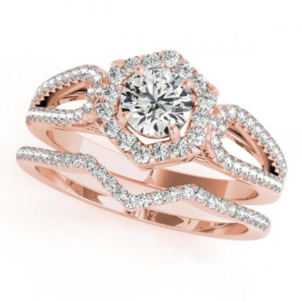 1.60 ctw VS/SI Diamond 2pc Wedding Set Halo 14K Rose Gold - REF-308H2M - SKU:31155