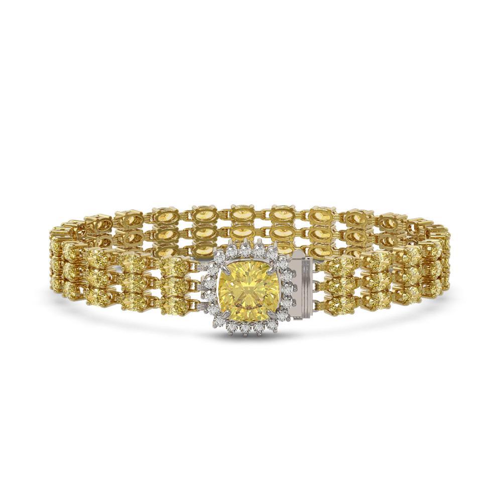 25.15 ctw Citrine & Diamond Bracelet 14K Yellow Gold - REF-242K5W - SKU:45922