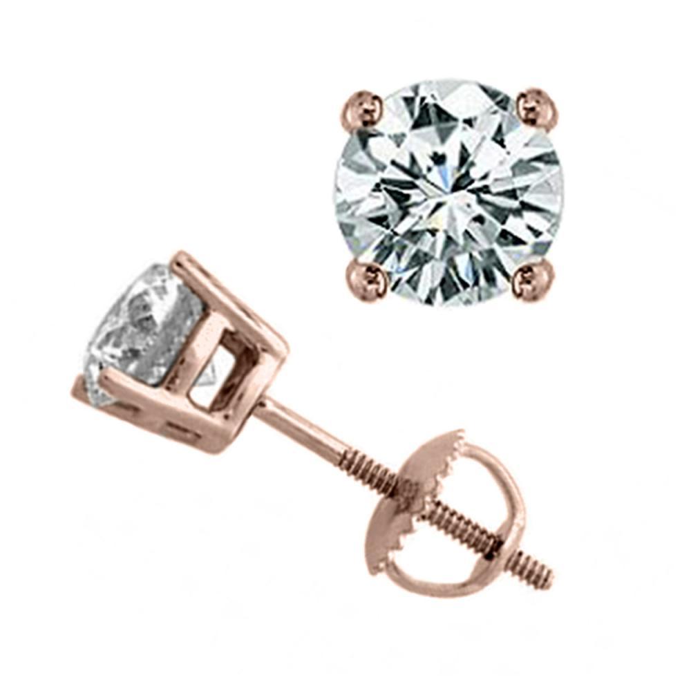 2.0 ctw VS/SI Diamond Stud Earrings 18K Rose Gold - REF-565N5A - SKU:13819