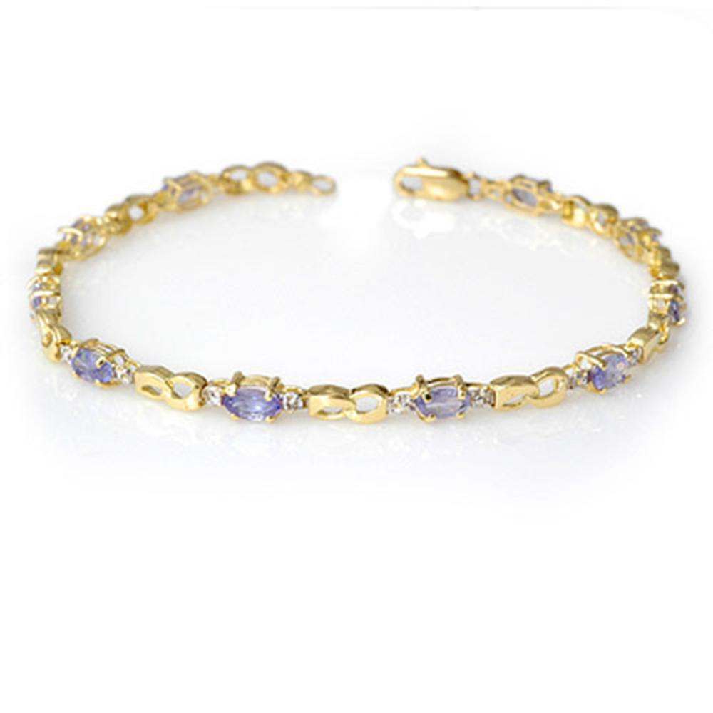 2.06 ctw Tanzanite & Diamond Bracelet 10K Yellow Gold - REF-43Y6X - SKU:12586