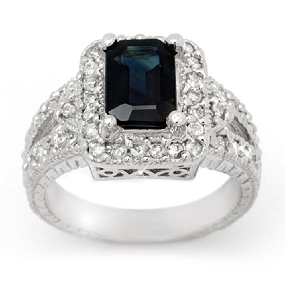 3.0 ctw Blue Sapphire & Diamond Ring 14K White Gold - REF-83V6Y - SKU:14388