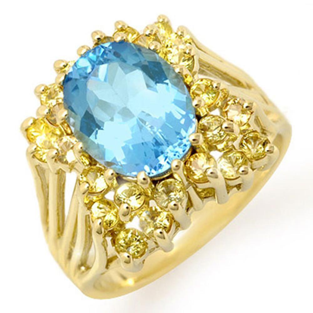 6.0 ctw Yellow Sapphire & Blue Topaz Ring 10K Yellow Gold - REF-53A3V - SKU:11773