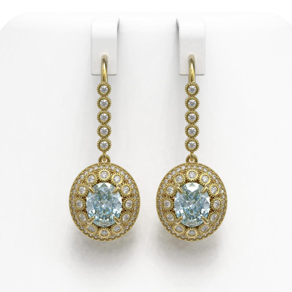 7.65 ctw Aquamarine & Diamond Earrings 14K Yellow Gold - REF-250H5M - SKU:43615