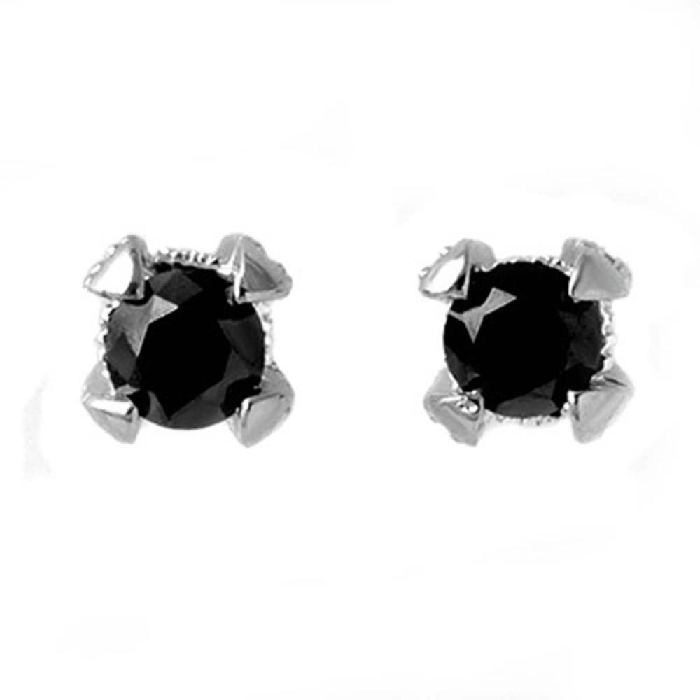 1.0 ctw VS Black & White Diamond Earrings 14K White Gold - REF-52N7A - SKU:11800