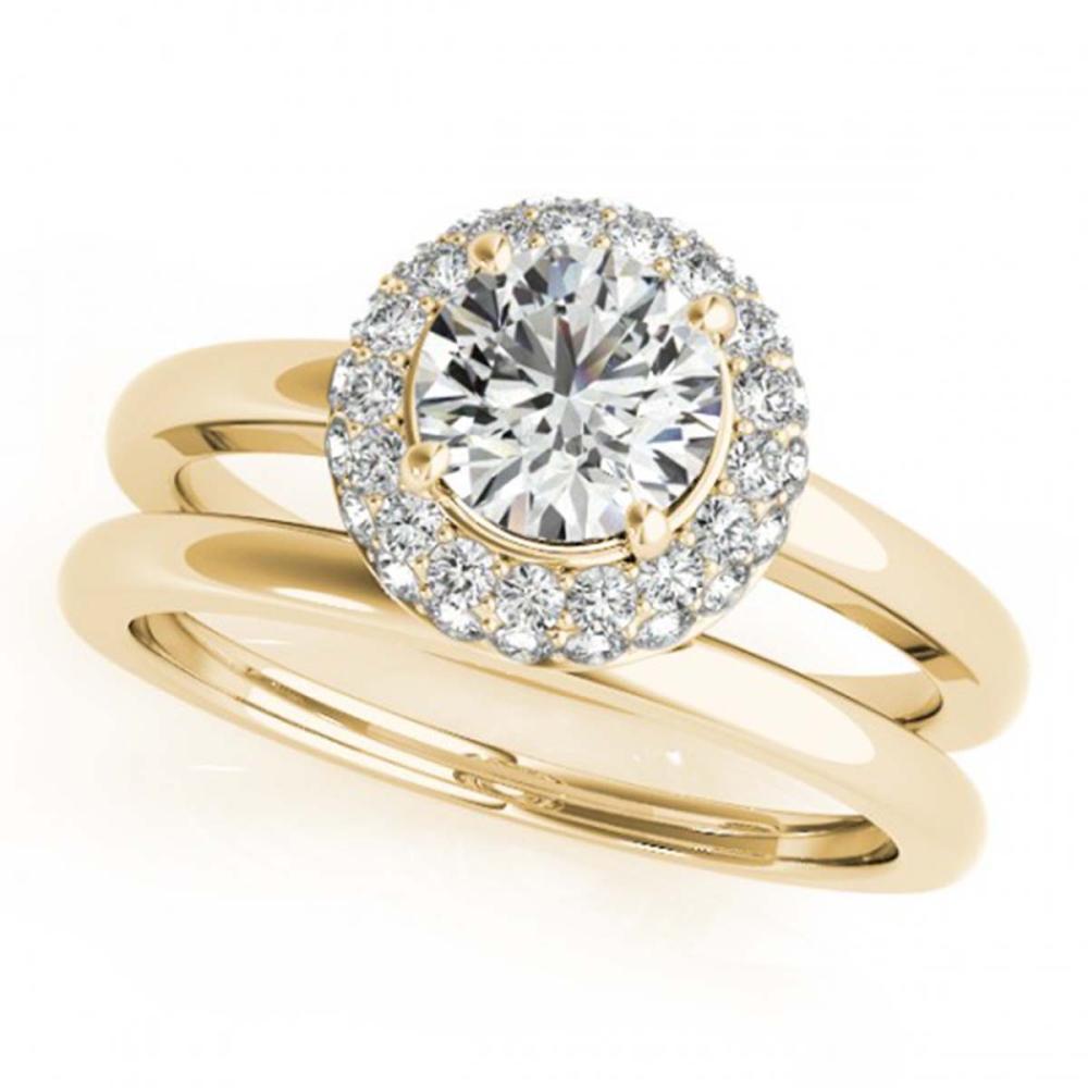 1.43 ctw VS/SI Diamond 2pc Wedding Set Halo 14K Yellow Gold - REF-283H9M - SKU:30923