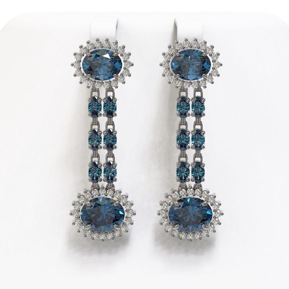 12.82 ctw London Topaz & Diamond Earrings 14K White Gold - REF-180H2M - SKU:44489