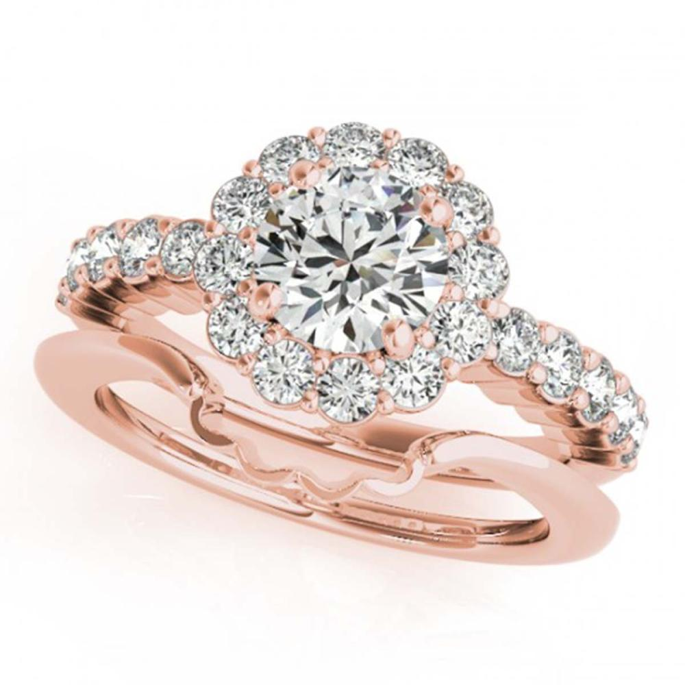 1.75 ctw VS/SI Diamond 2pc Wedding Set Halo 14K Rose Gold - REF-303X7R - SKU:31194