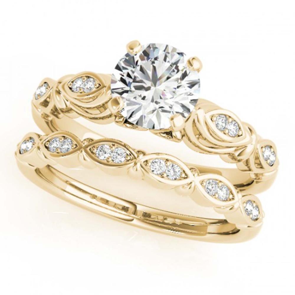 0.94 ctw VS/SI Diamond 2pc Wedding Set 14K Yellow Gold - REF-146Y9X - SKU:31498