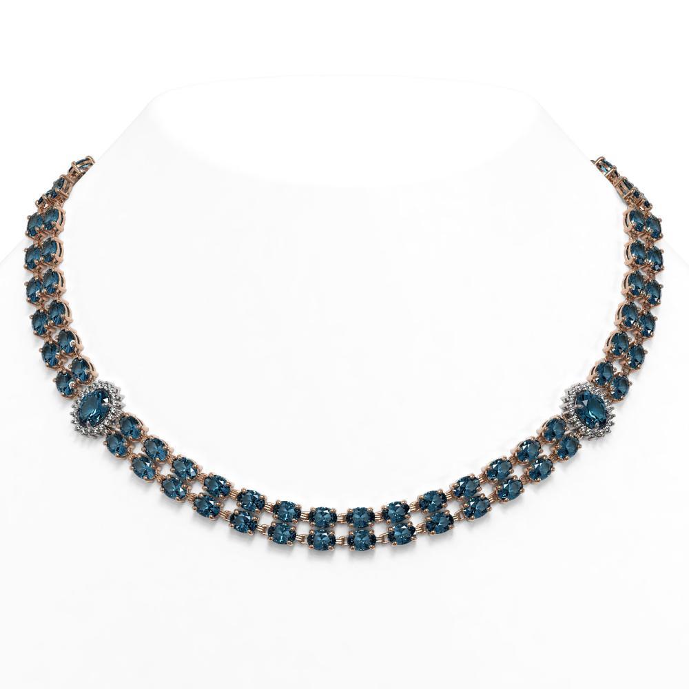 64.99 ctw London Topaz & Diamond Necklace 14K Rose Gold - REF-466H2M - SKU:44376