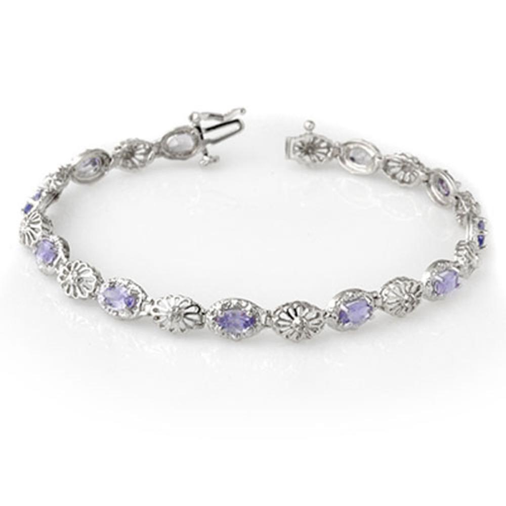 2.62 ctw Tanzanite & Diamond Bracelet 10K White Gold - REF-70R9K - SKU:14242