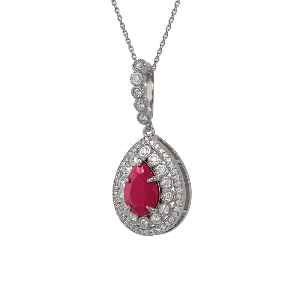 4.97 ctw Ruby & Diamond Necklace 14K White Gold - REF-143Y8X - SKU:43202