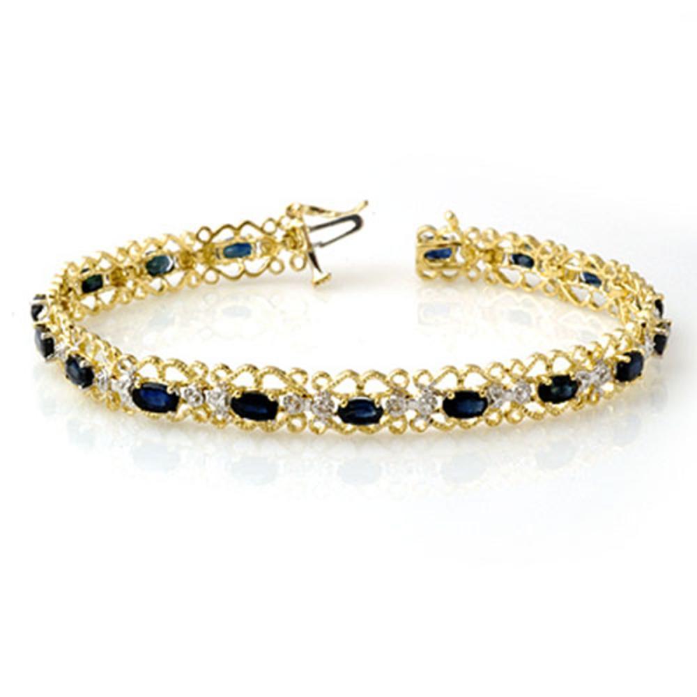 7.02 ctw Blue Sapphire & Diamond Bracelet 10K Yellow Gold - REF-69R3K - SKU:14527