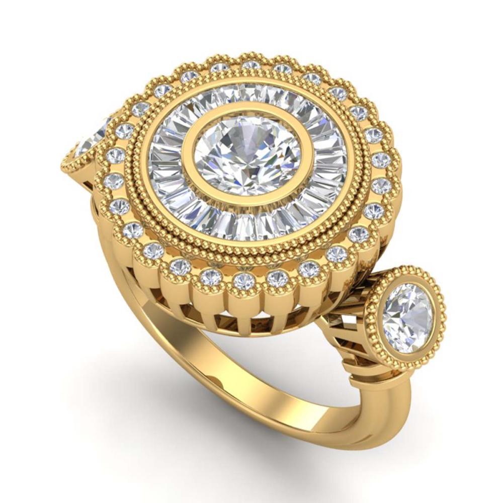 2.62 ctw VS/SI Diamond Solitaire Art Deco 3 Stone Ring 18K Yellow Gold - REF-416H4M - SKU:37090