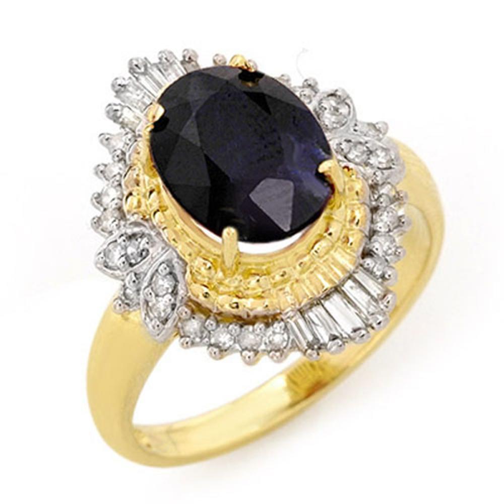 3.01 ctw Blue Sapphire & Diamond Ring 14K Yellow Gold - REF-69R3K - SKU:13114