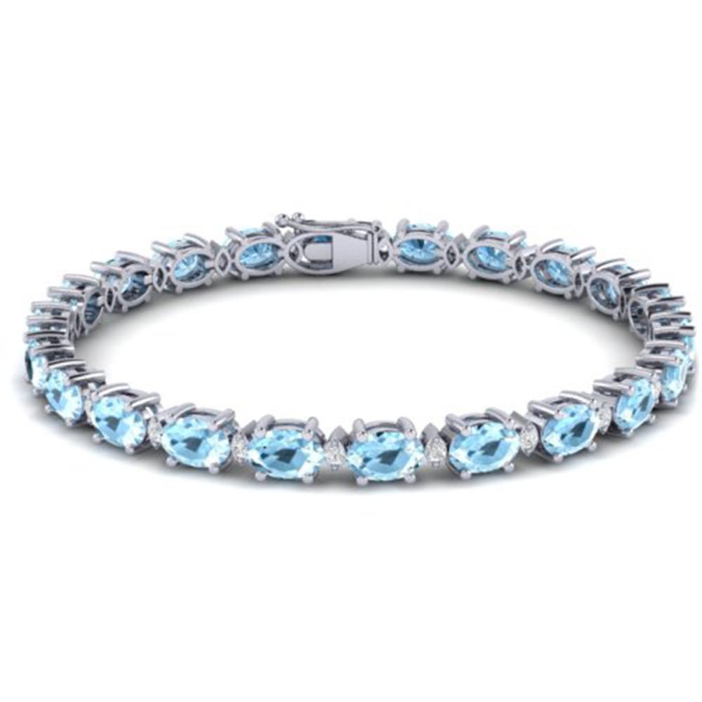15.9 ctw Aquamarine & VS/SI Diamond Eternity Bracelet 10K White Gold - REF-161X8R - SKU:29360