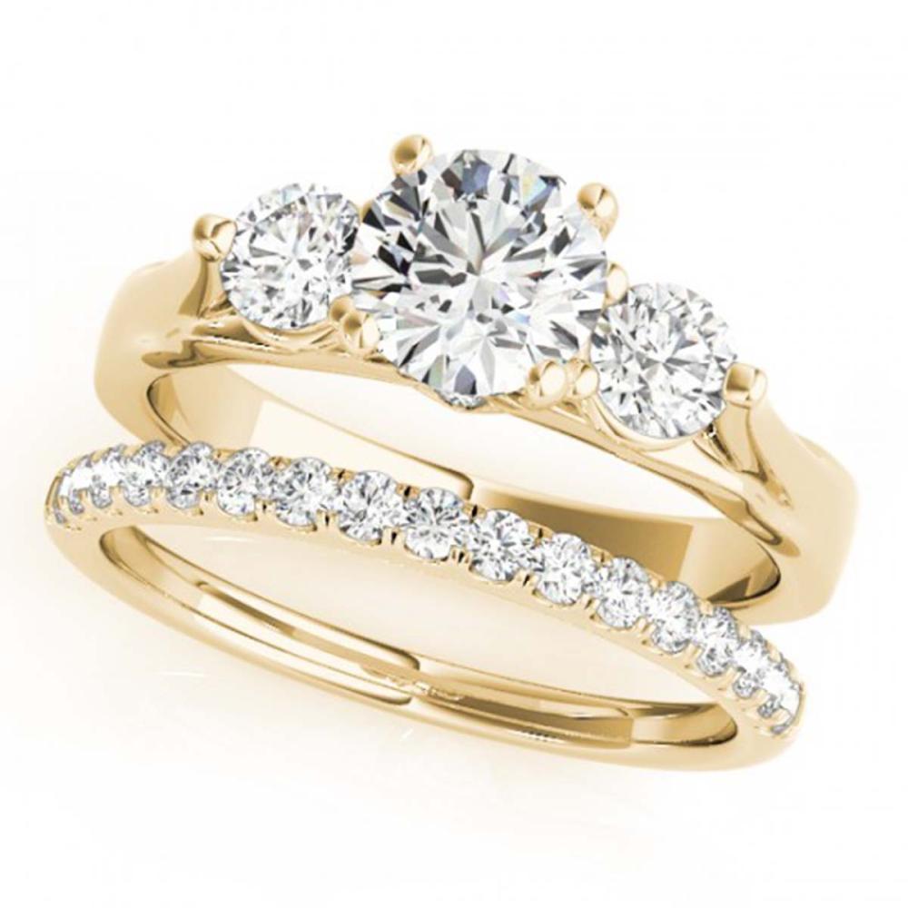 2.17 ctw VS/SI Diamond 3 Stone 2pc Wedding Set 14K Yellow Gold - REF-414F5N - SKU:32038