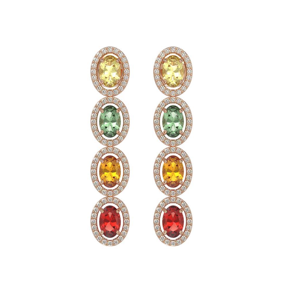 6.09 ctw Multi Color Sapphire & Diamond Earrings 10K Rose Gold - REF-135M3F - SKU:40551