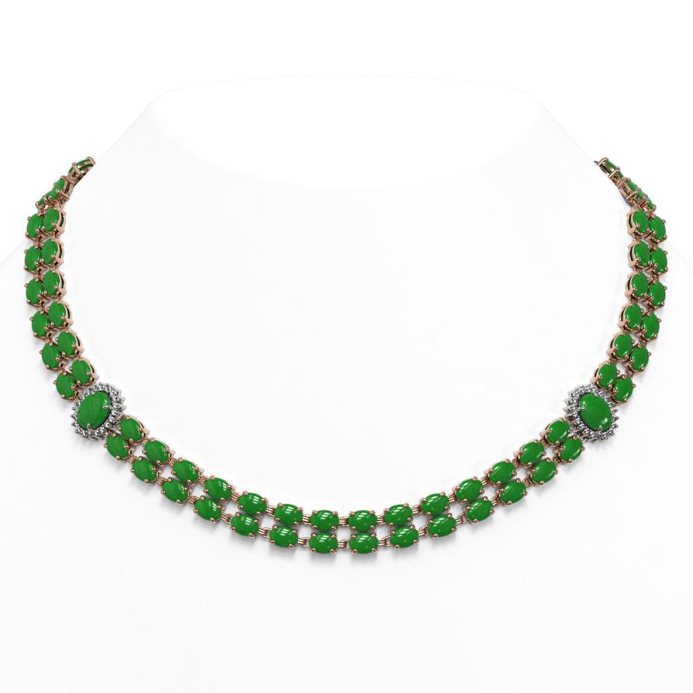 65.77 ctw Jade & Diamond Necklace 14K Rose Gold - REF-451R5K - SKU:44394