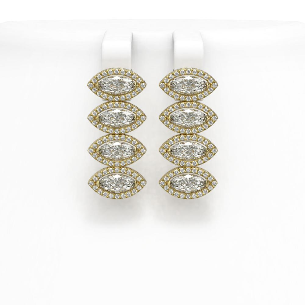 5.92 ctw Marquise Diamond Earrings 18K Yellow Gold - REF-804A5V - SKU:42838