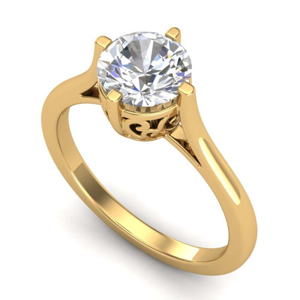 1.25 ctw VS/SI Diamond Solitaire Art Deco Ring 18K Yellow Gold - REF-490W9H - SKU:37228