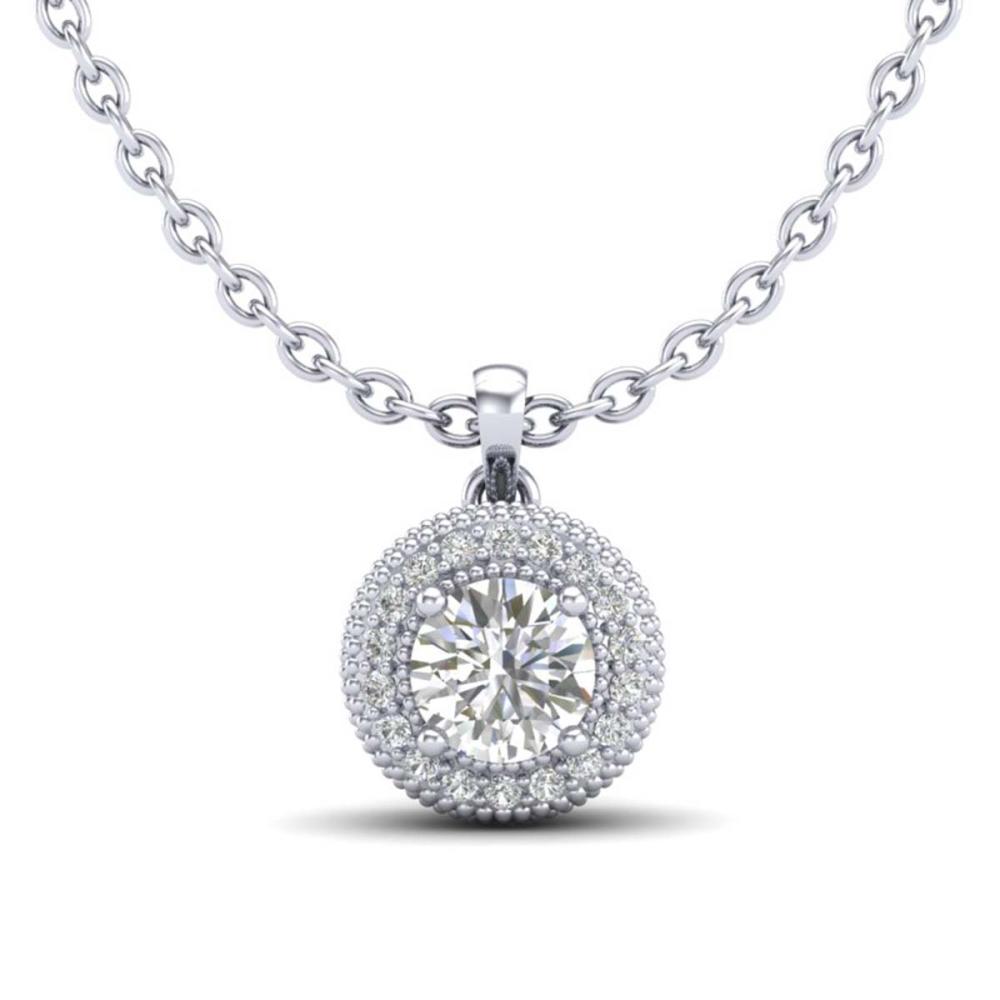 1 ctw VS/SI Diamond Solitaire Art Deco Stud Necklace 18K White Gold - REF-180X2R - SKU:36965