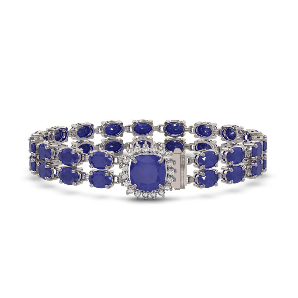 19.85 ctw Sapphire & Diamond Bracelet 14K White Gold - REF-195F6N - SKU:45599