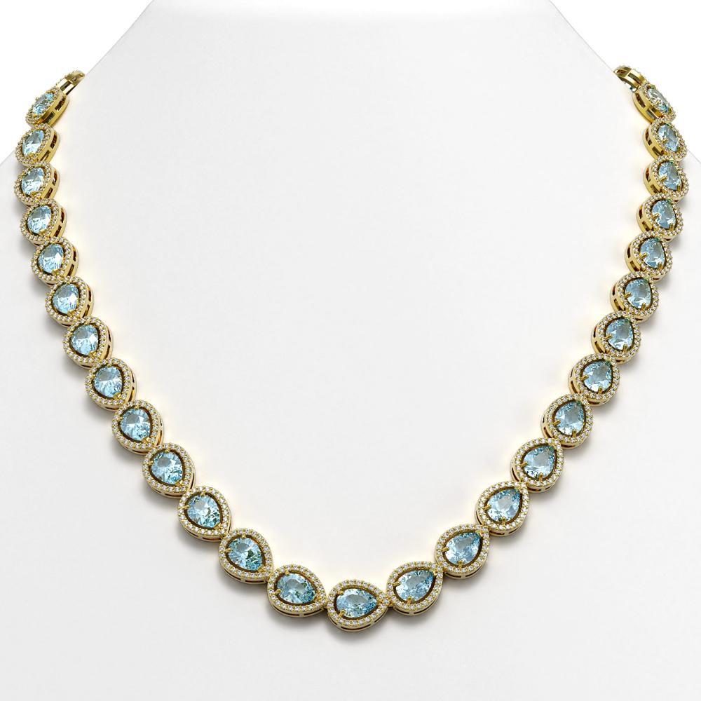 35.13 ctw Sky Topaz & Diamond Halo Necklace 10K Yellow Gold - REF-581M6F - SKU:41074