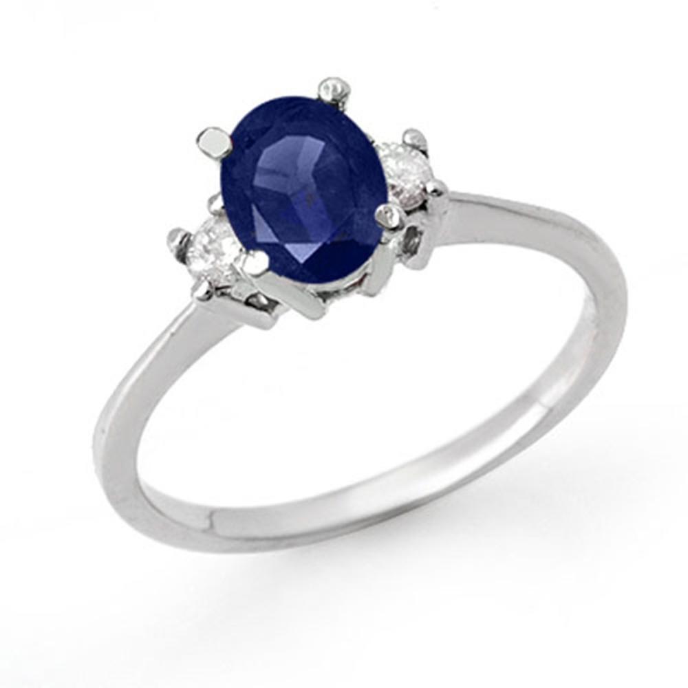 1.04 ctw Blue Sapphire & Diamond Ring 18K White Gold - REF-41F8N - SKU:12360