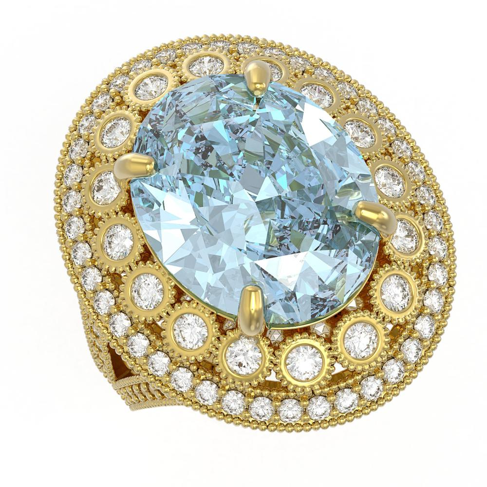 16.82 ctw Sky Topaz & Diamond Ring 14K Yellow Gold - REF-229X3R - SKU:43855