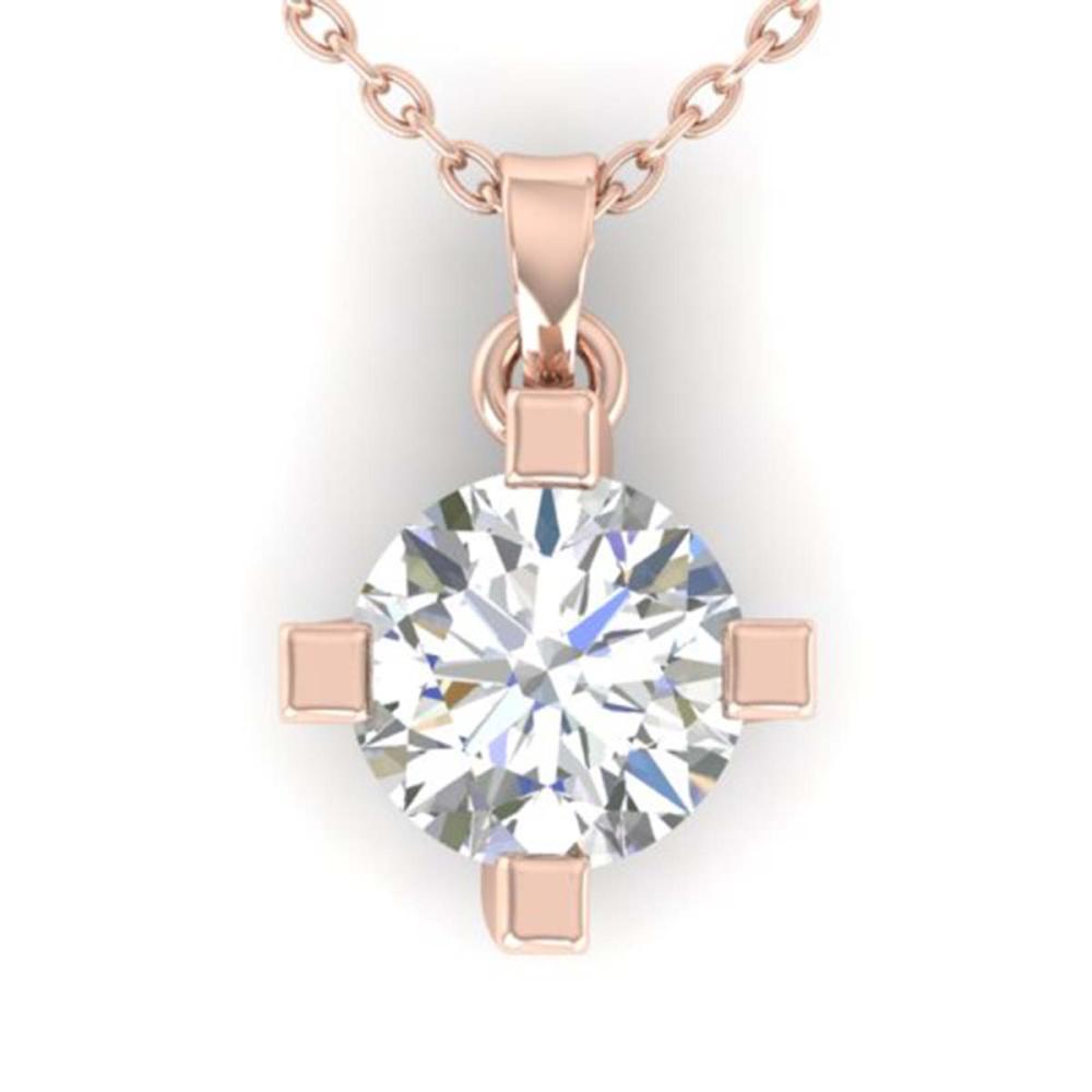 1 ctw VS/SI Diamond Solitaire Necklace 14K Rose Gold - REF-284X8R - SKU:30403
