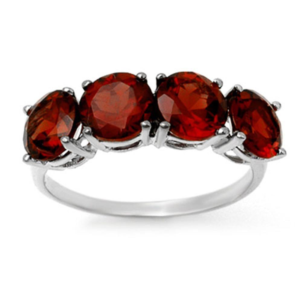 3.66 ctw Garnet Ring 18K White Gold - REF-37N3A - SKU:12809