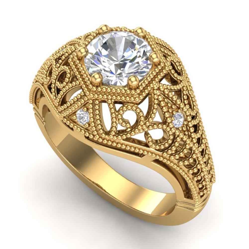 1.07 ctw VS/SI Diamond Solitaire Art Deco Ring 18K Yellow Gold - REF-322Y5X - SKU:36919