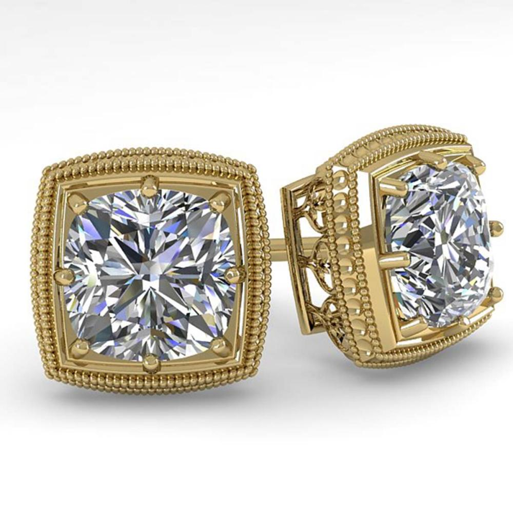 1.0 ctw VS/SI Cushion Cut Diamond Stud Earrings Art Deco 18K Yellow Gold - REF-170A9V - SKU:35965